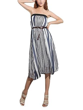 0c764f57dd21 Chiffon Maxirock Damen Elegant Gestreift Lang Rock High Waist Mode ...