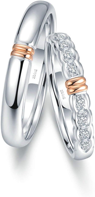 Daesar Anillos Compromiso Parejas Oro 18K Plata Anillos Redondo con Dos Tonos Diamante Blanco 0.056ct