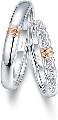 Alianza de bodas de oro blanco y oro amarillo 18K