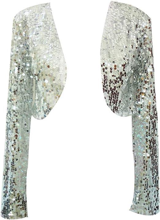 Bolero Donna Elegante Manica Lunga Glitter Paillettes Blazers Giacche Giacca Cardigan Top