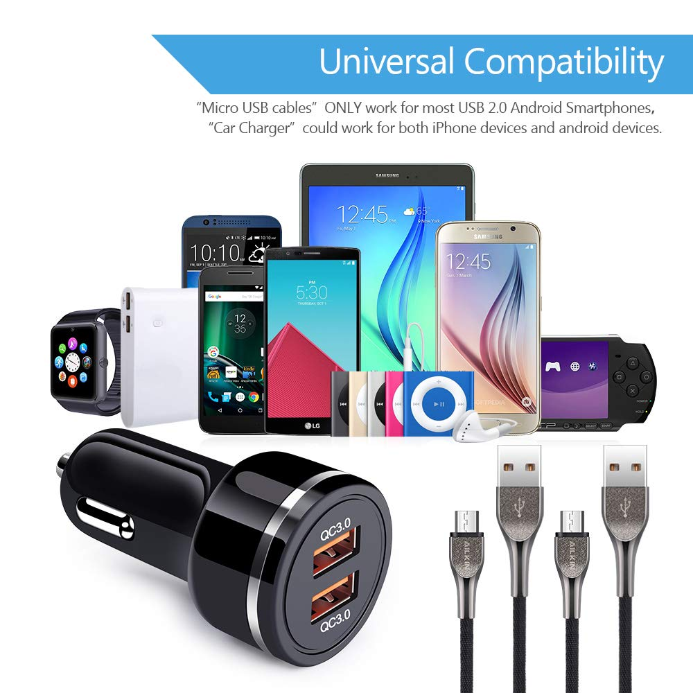 Ailkin 2Pack Micro USB Cables Car Charger 3.0-2.4A//6Ft Denim Braided Black Fast Charging USB Power Line with Dual USB Quick Vehicle Charge Adapter for Android USB Charger Port Devices