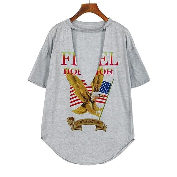 Yeamile💋💝 Camiseta de Mujer Tops Negro Blusa Causal Ocasionales Camiseta de Estilo Vintage Rock Style Tops Casual Party Holiday T-Shirt Blusa (Gris, ...