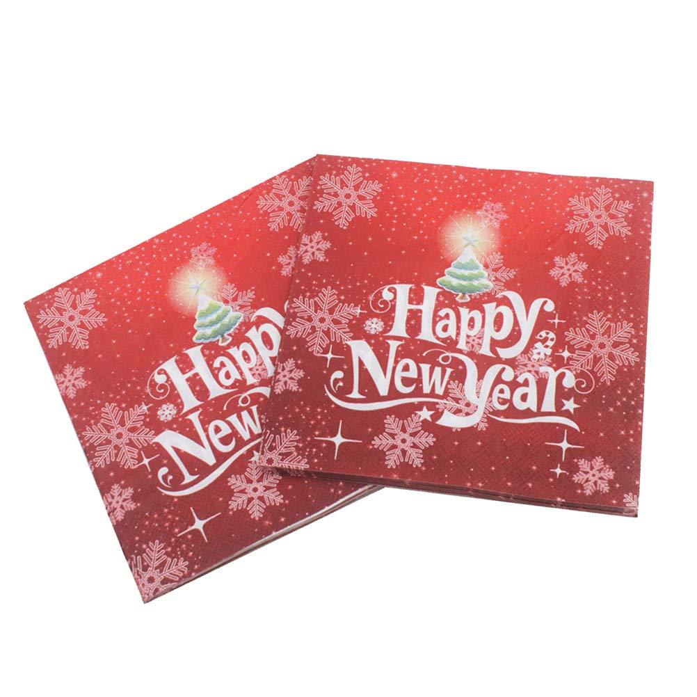 BESTOYARD Happy New Year Printed Napkin Wood Pulp Colorful Party Napkin Restaurant Decoration 100pcs by BESTOYARD (Image #2)