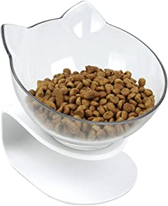 Pethouzz Tilted Raised Posture Cat Bowl Elevated Slanted Stand Pet Bowls for Cats and Small Dogs