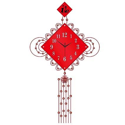 reloj de pared QFFL Living Room Rojo Silent Wall Clock/Reloj de decoración para el