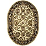 Safavieh Classic Collection CL359E Handmade Traditional Oriental Ivory and Navy Wool Oval Area Rug (7'6'' x 9'6'' Oval)