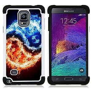 For Samsung Galaxy Note 4 SM-N910 N910 - yang fire ice black symbol symbolic Dual Layer caso de Shell HUELGA Impacto pata de cabra con im??genes gr??ficas Steam - Funny Shop -