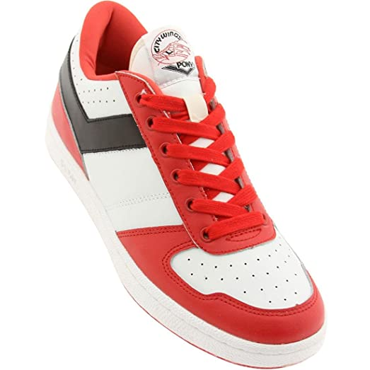 Pony Men\u0027s Shoes City Wings Leather Lo Top Sneakers Red White Shoes ...