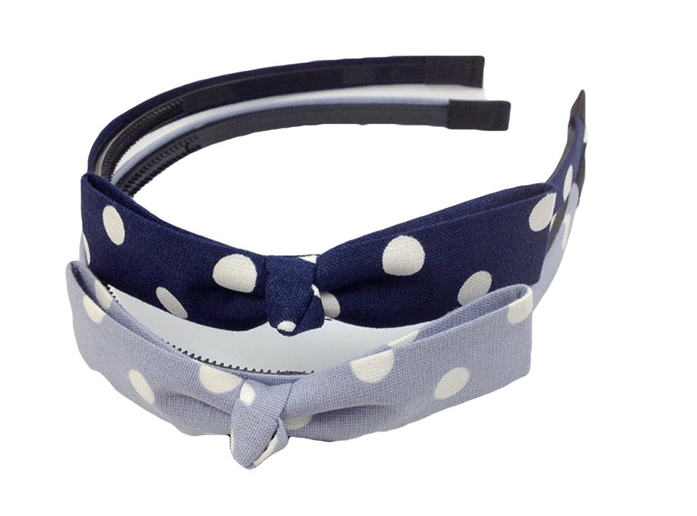 Qiabao Womens Polka Dots Bowknot Hard Teeth Headband Hairband 2 Pack