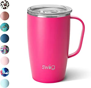 Swig Life 18oz Triple Insulated Travel Mug with Handle and Lid, Dishwasher Safe, Double Wall, and Vacuum Sealed Stainless Steel Coffee Mug in Matte Hot Pink (Multiple Patterns Available)