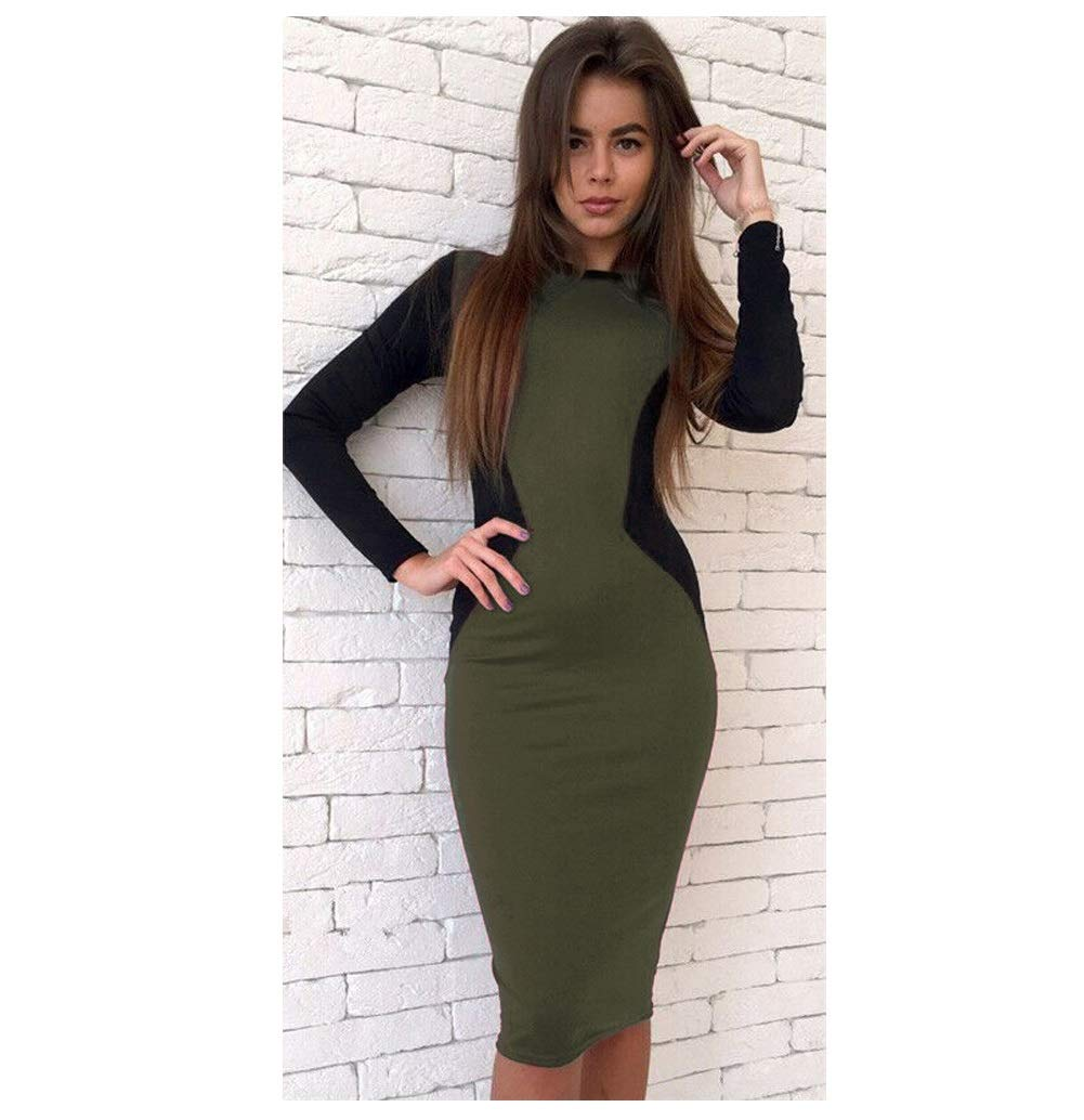 color3 CARRY Dress, Europe and America Comfortable Soft Ladies Cocktail Dress Long Sleeves Long Zipper Sexy Professional Dress Body Step Skirt (color   color2, Size   M)