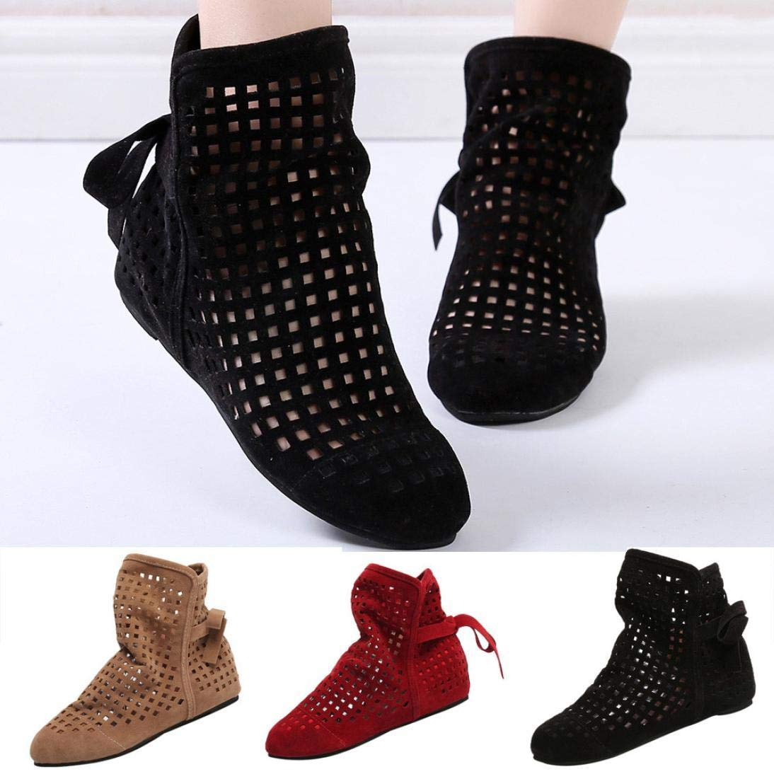 Gyoume Sandals Hollow Out Ankle Boots Shoes Women Flat Wedges Boots Girls Cute Booties Dress Shoes by Gyoume (Image #3)