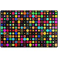 Vantaso Nursery Area Rugs Soft Foam Shining Neon Rainbow Color Dots Play Mats for Kids Playing Room Living Room Door Mat 60x39 inch