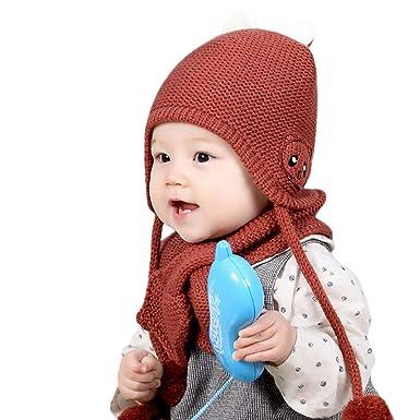 7d23e421c Piebo 2018 Moda Diario Casual Cómodo Niños Unisex de 2 Piezas Invierno  cálido bebé Bufanda Suave Gorro de Lana Tejida Sombrero de Bola Lindo   Amazon.es  ...