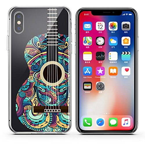 Basic Only Book Instruction Guitar (iPhone X ,Colorful Flexible Ultra Slim Translucent Apple iPhone Case Cover - Colorful Mandala Guitar)