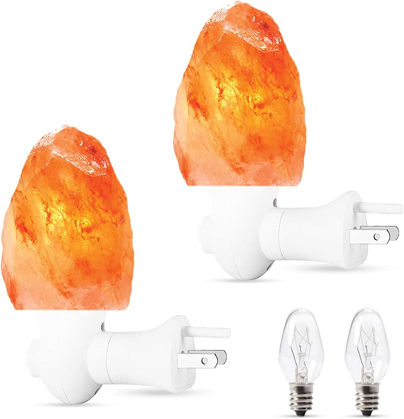 NEXTGRADE 100% Authentic 2 Pack Himalayan Salt Lamp Night Light - Hand Carved Natural Pink Crystal Rock Salt from The Himalayas, ETL Listed 360 Rotatable Wall Plug, for Bedroom Decor; 2 Extra Bulbs