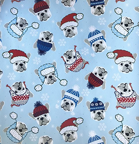 (Cynthia Rowley Holiday French Bulldogs in Winter Hats Blue Christmas Gift Wrapping Paper 2.5' x 12')