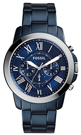 2cc729c72a9 Image Unavailable. Image not available for. Colour  Fossil FS5230 Grant  Chronograph Blue Dial Men s Watch