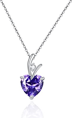 Amethyst Solid 925 Sterling Silver Pendant Necklace Christmas Gift