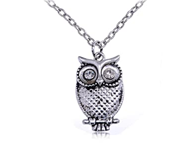 6801385b2ed08 Alilang Crystal Eyes Antique Silvery Tone Color Hoot Mister Owl Pendant  Necklace
