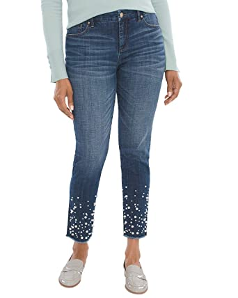 ab72faa8177f3 Chico s Women s So Slimming Faux-Pearl Embroidered Girlfriend Ankle Jeans  Size 10 M (1.5 REG) Denim at Amazon Women s Jeans store