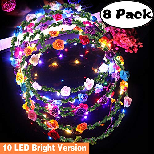 8 Pack LED Flower Crown with 10 LED Luminous,Floral Flower Headband for Womens Girls,Boho Garland Wreath Headdress 3 Mode Flashing for Party Favor Supplies Wedding Halloween Christmas Festival Cosplay