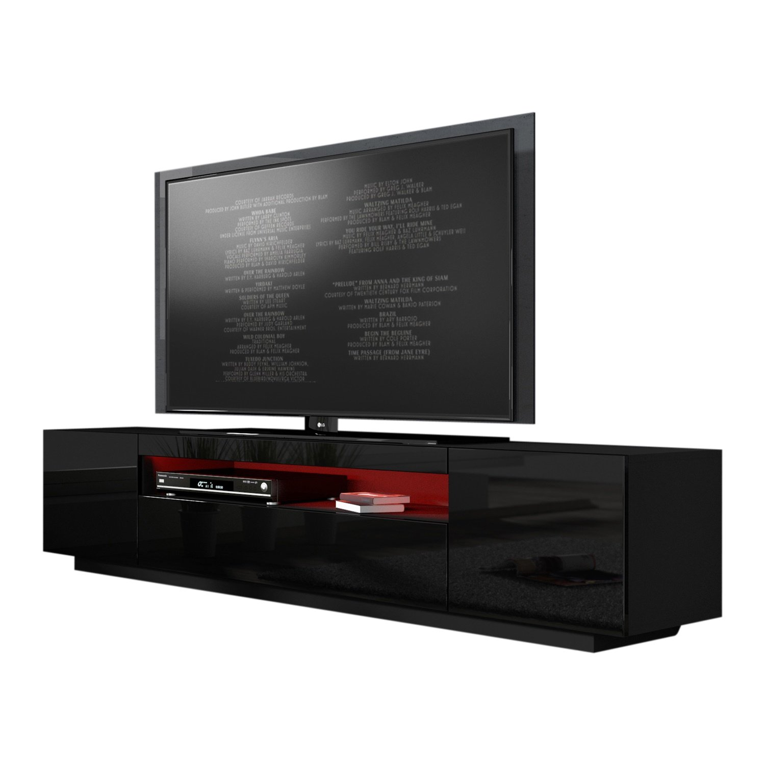 MEBLE FURNITURE RUGS Miami 200 Modern 90 TV Stand High Gloss Front, 16 Colors LED Black