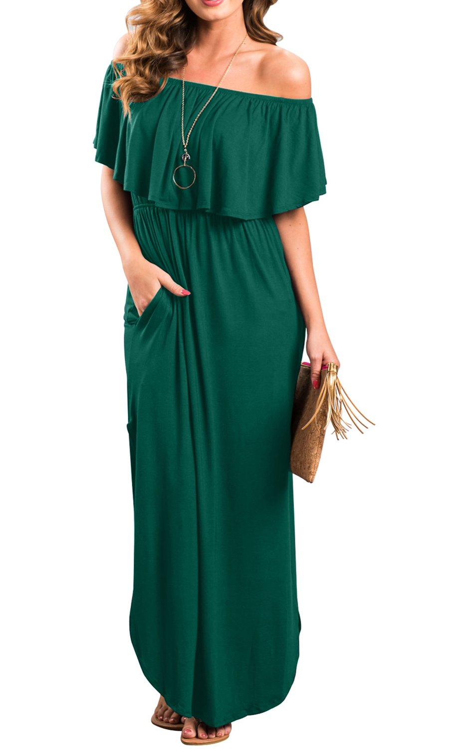 I2CRAZY Women's Casual Swing Flowy Plain Simple Cotton T-Shirt Loose Dress(Size-S,DarkGreen)