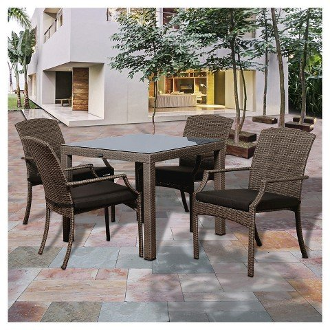 Price comparison product image Miami Beach Wicker Patio Dining Set with Grey Cushions - Grey (5 Pc)