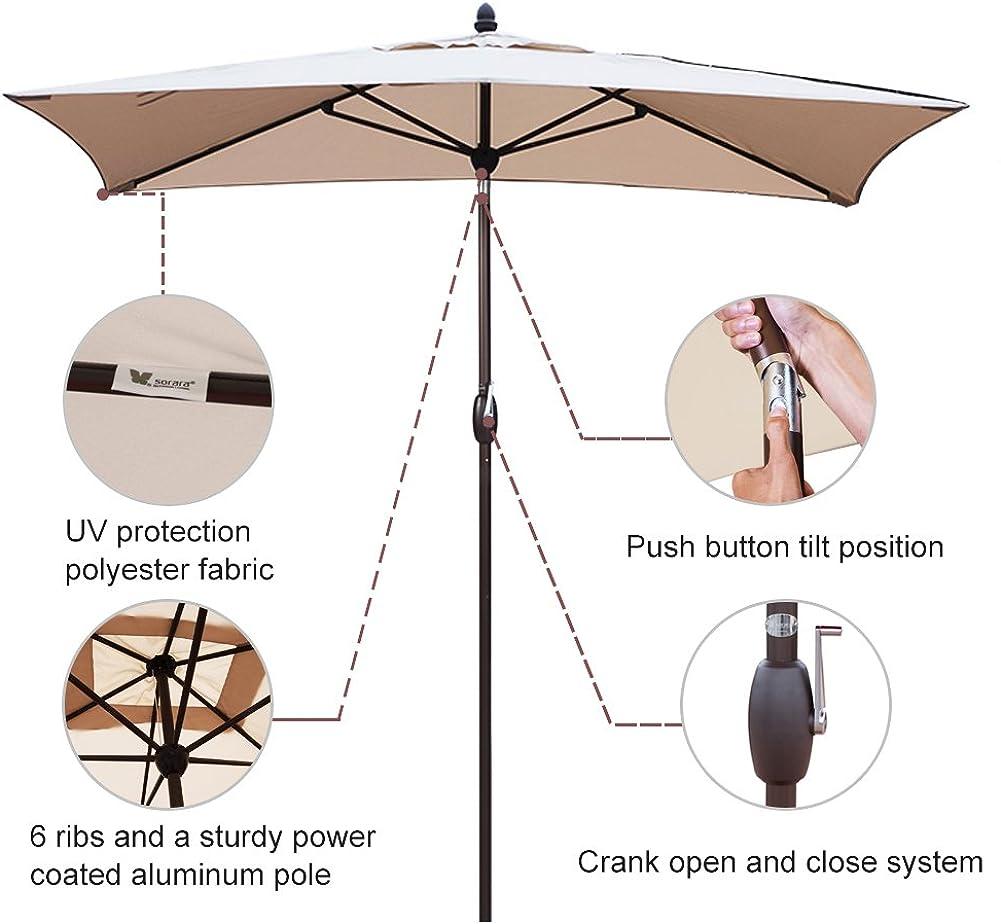 SORARA Patio Umbrella Rectangular Outdoor Market Table Umbrella