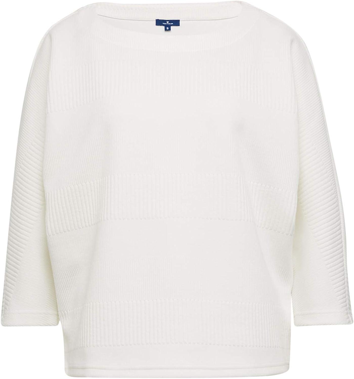 TOM TAILOR Damen Sweatshirt Elfenbein (Whisper White 10315)
