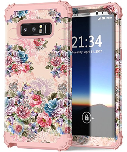 Hocase Galaxy Note 8 Case, Shockproof Heavy Duty Hybrid Silicone Rubber Bumper+Hard Shell Full Body Protective Phone Case w/Lovely Peony Floral Print for Samsung Galaxy Note 8 (2017) - Rose Gold Pink