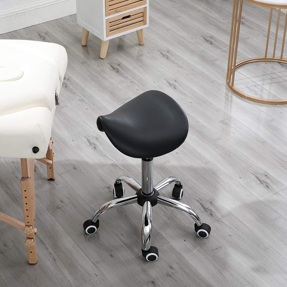 Sadelpall rullande svängbar stol, justerbar hög ergonomisk 360° svängbar stol på hjul, hydraulisk gaslyft barpall för frisör manikyr tatuering spa salong, svart Svart