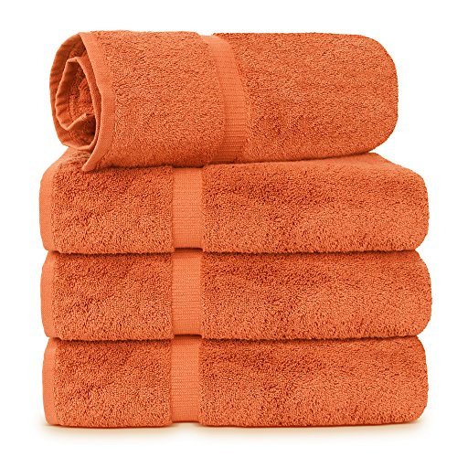 4 Piece Turkish Luxury Turkish Cotton Towel Set - Eco Friendly, 4 Bath Towels by Turkuoise Turkish Towel (Coral) ()