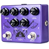 Caline Pedals Reverb Delay Effects Pedal Repeat Preamp Acoustic Electric Guitar Pedal True Bypass Metal Purple CP-80