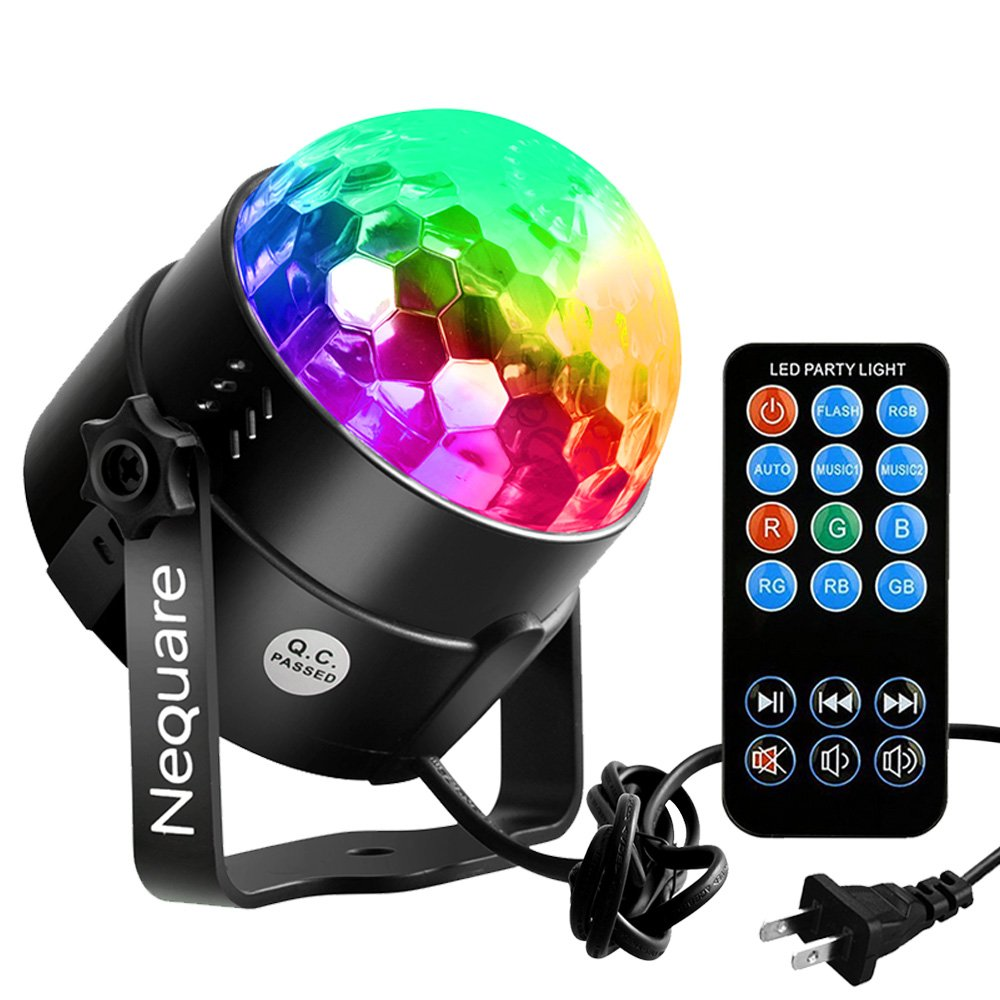 Amazon.com: Nequare Party Lights Sound Activated Disco Ball Strobe Light 7  Lighting Color Disco Lights with Remote Control for Bar Club Party DJ  Karaoke ...