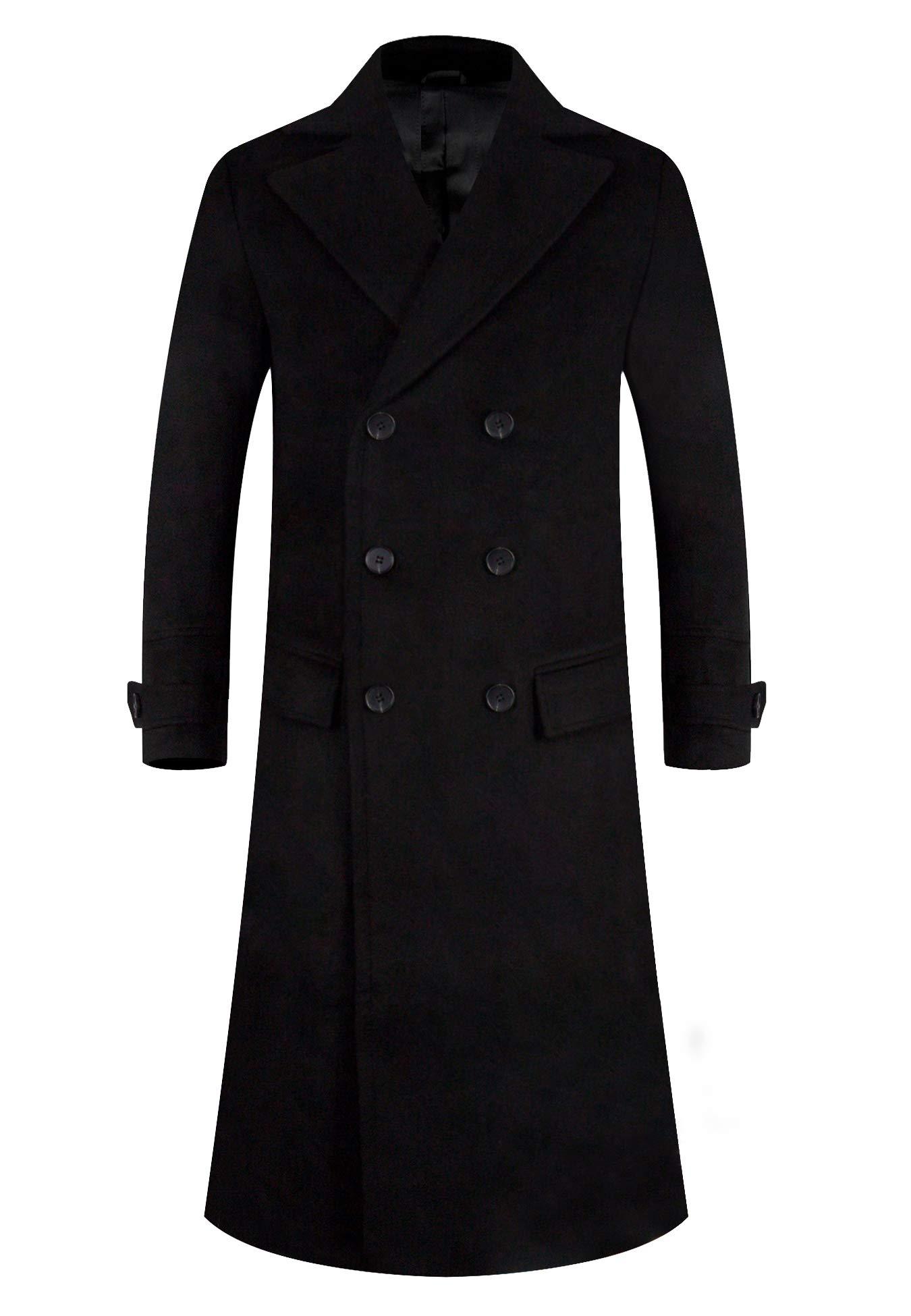 APTRO Men's Full Length Wool Trench Coat Fleece Lining Double Breasted Overcoat 1818 Black XXL by APTRO