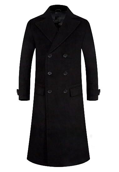 APTRO Men's Winter Wool Long Overcoat Thickened Lining Trentch Coat 1818 Black S