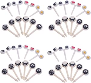 RAYNAG 40-Piece Kids Bento Box Food Picks Mini Cute Cartoon Plastic Fruit Toothpicks, Adorable Eye-style Lunchboxes Picks