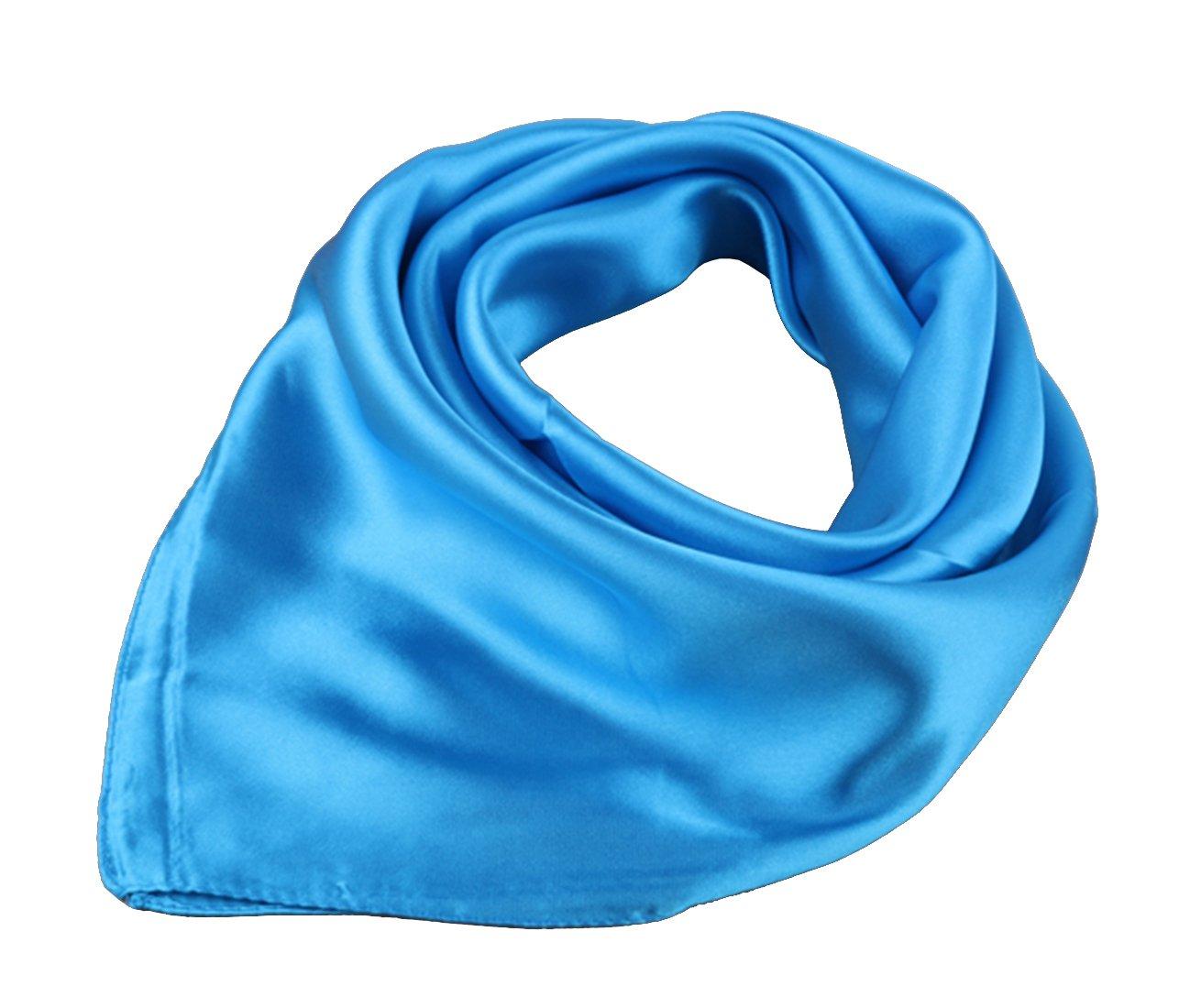 Women Solid Satin Square Neck Head kerchief Scarf Set 58cm Night Sleep Cap Cover Bandana