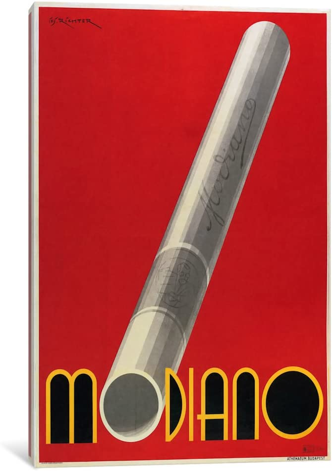 iCanvasART VAC462-1PC3-26x18 Modiano Cigs Red Italian Canvas Print by Vintage Apple Collection, 26 by 18-Inch, 0.75-Inch Deep