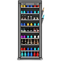 Opza Shoe Racks for Home 9 Tiers Multi-Purpose Shoe Storage Organizer Cabinet Tower with Iron and Nonwoven Fabric with Zippered Dustproof Cover (Shoe Racks for Home)
