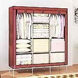 "House of Quirk 66"" Fabric Portable Wardrobe Storage Organizer - Brown"