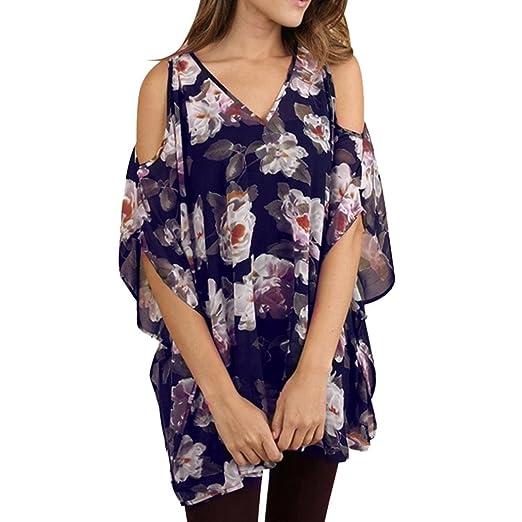 7c1e19de9fbd9 POHOK Women Plus Size Floral Printed V-Neck Half Sleeve Open Shoulder Tops  Blouse Navy