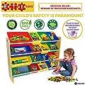 ETI Toys   16 Multi Bin Toy Organizer (Beech)   4 Extra Large Capacity Bins   Durable, Premium Grade MDF   BPA-Free Fun Storage Bins for Kids and Baby   Best Childrens Playroom Furniture Toys Storage