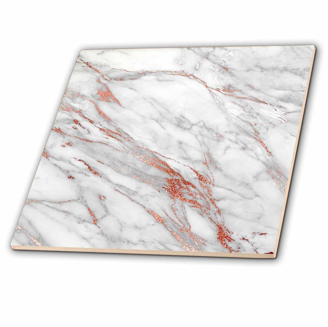 3dRose ct_268836_1 Luxury Grey Copper Gem Stone Marble Glitter Metallic Faux Print Ceramic Tiles,