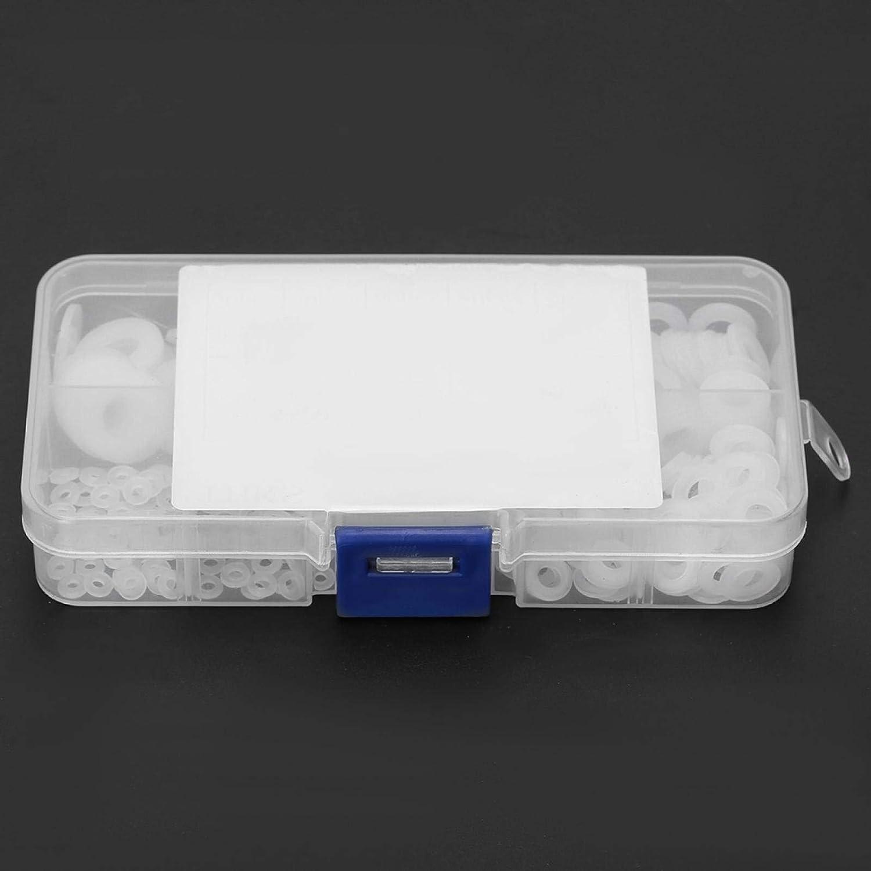 350pcs Flat White Nylon for Industry Home Gasket Ring Kit Backup Ring Nylon Spacer