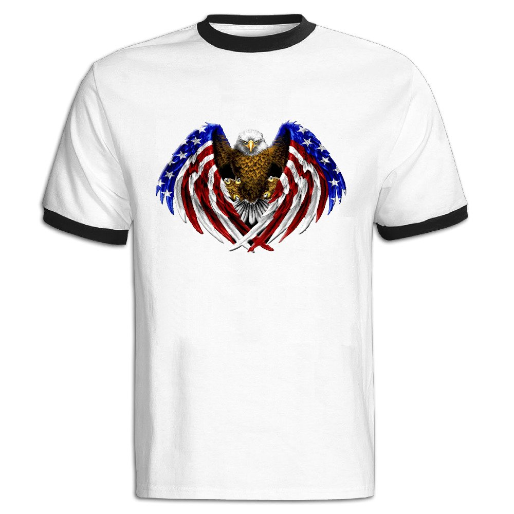 American Eagle Flag Logo hombre contraste Color camiseta: Amazon ...