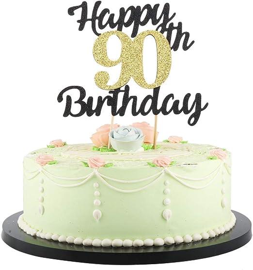 Fabulous Amazon Com Lveud Happy Birthday Cake Topper Black Font Golden Personalised Birthday Cards Veneteletsinfo