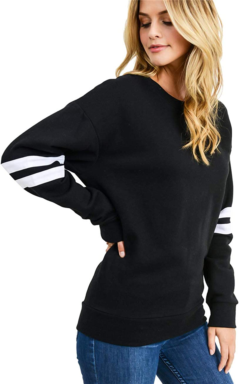 T1FE 1SFE Womens Crewneck Sweatshirt Long Sleeve T-Shirts Pullovers Blouses